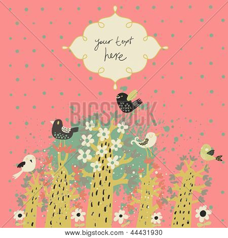 Stylish vintage floral background with birds and textbox. Ideal for bright wedding invitation. Vector abstract background