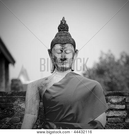 Ayutthaya-March 2: Buddha Statue In Wat Yai Chai Mongkol- Ayutthaya, Thailand