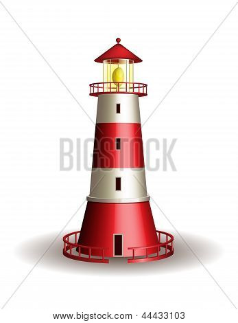 Red lighthouse isolated on white background.