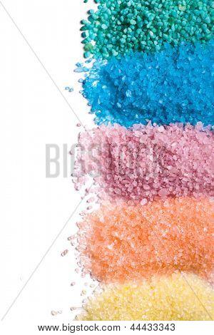 the different colours of bath salt