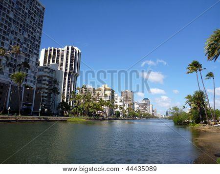 Ala Wai Canal On Oahu, Hawaii