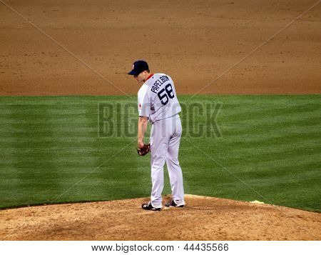 Red Sox Closer Jonathan Papelbon Stands On Mound Looking Towards Home Plate As He Prepares To Throw