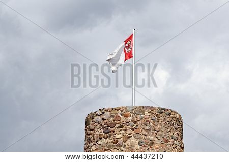 Owls Tower And Municipal Flag In Templin In The Uckermark