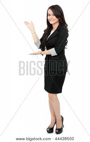 Woman Showing Copy Space