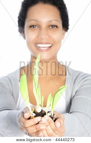 Beautiful Woman Nurturing A Spring Bulb