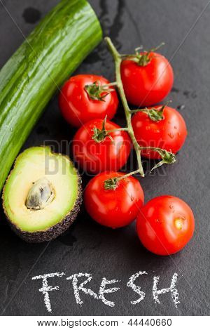 Fresh Tomatoes And Avocado And Cucumber