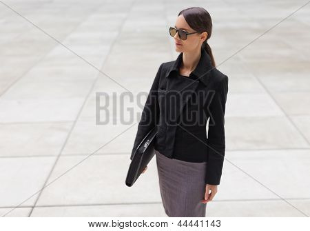 Beautiful Young Business Woman In Black Jacket