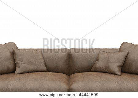 Sofa Made Of Worn Leather Closeup