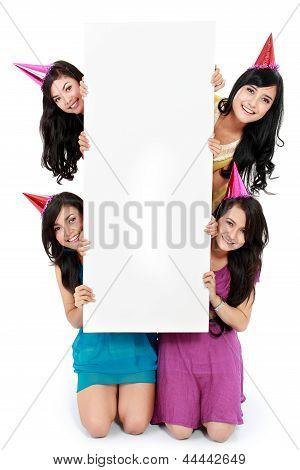 Four Beautiful Girl Holding Blank Board