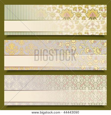 Vintage Flower Banners Retro Pattern Design Set