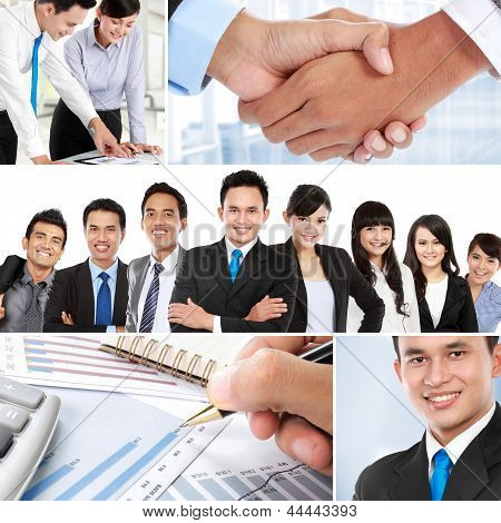 Collage Of Asian Business People
