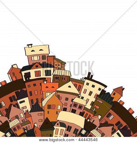 Old town panoramic background on white, vector