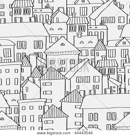 Old town panoramic seamless pattern in black and white, vector