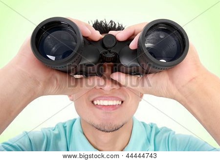 Man Using Binocular