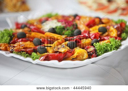 Platter Of Colourful Vegetables On A Buffet