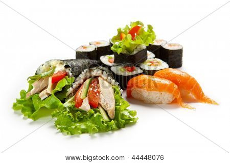 Sushi Set - Different Types of Maki Sushi and Hand Roll Sushi(temaki)
