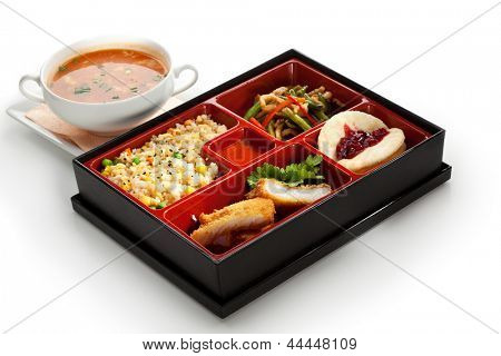 Lunch Box (Bento) - Rice with Green Peas, Fried Fish, String Beans Salad and Fruits