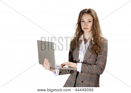 Confident Boss With A Laptop In Hands Isolated On White