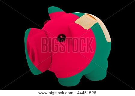 Bankrupt Piggy Rich Bank In Colors Of National Flag Of Bangladesh    Closed With Bandage