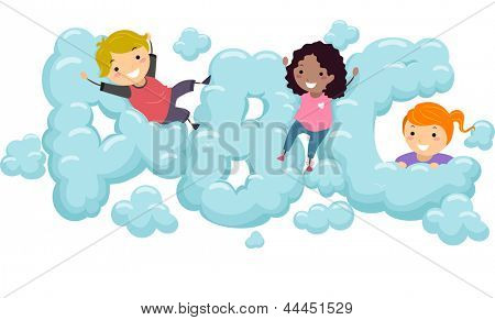 Illustration of Kids playing in an ABC shaped Cloud