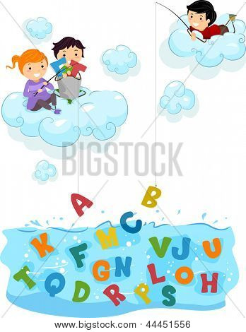 Illustration of Kids on Clouds fishing for Letters at the Sea
