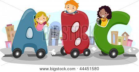 Abbildung der Kinder Reiten in Letter-Shaped Auto