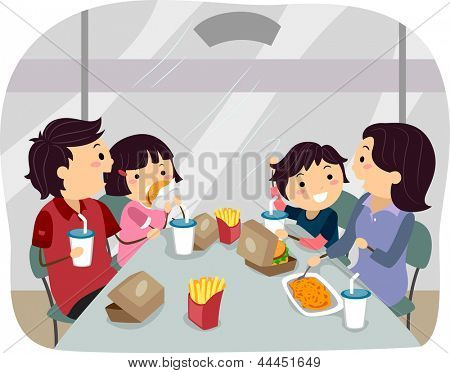 Illustration of Stickman Family dining in a Fastfood