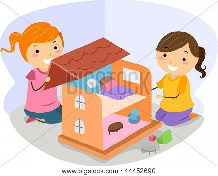 Illustration of Little Girls Playing with a Dollhouse