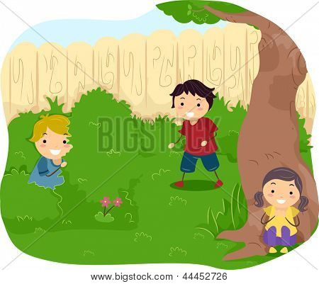 Illustration of Kids playing Hide and Seek
