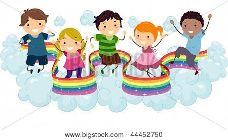Illustration of Kids playing on the Clouds with a Rainbow Strip