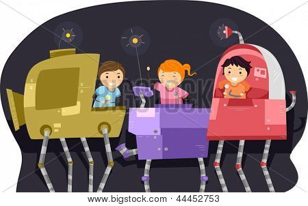Illustration of Little Kids riding on Robots