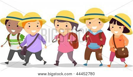 Illustration of Stickman School Kids wearing Uniform Hat