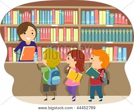 Illustration of Kids in a Library