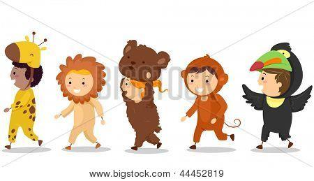 Ilustración de los niños pequeños en sus trajes de animales