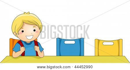 Illustration of a Boy being the First to arrive in the Classroom