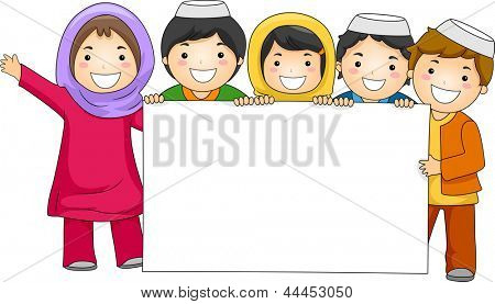 Illustration of Muslim children holding blank board