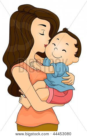 Illustration of a Happy Toddler Boy being Kissed and Cuddled by his Mother