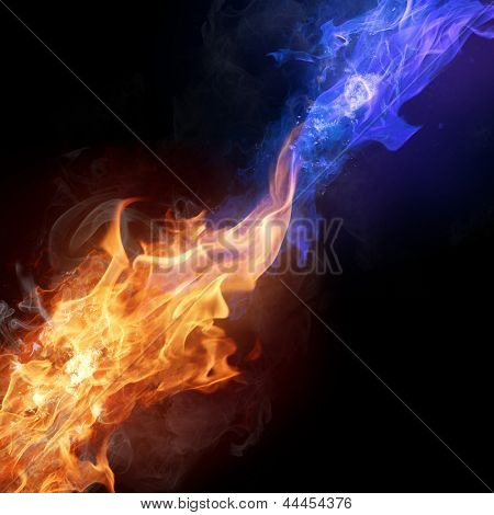 Two colors fire flames