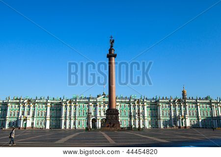 ST.PETERSBURG, RUSSIA - MAY 21: Alexander Column is the focal point of Palace Square in May 21, 2012 in St.Petersburg, Russia. The column is named for Emperor Alexander I, who reigned from 1801-1825.