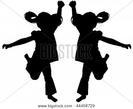 Silhouette of kids jumping up in the air