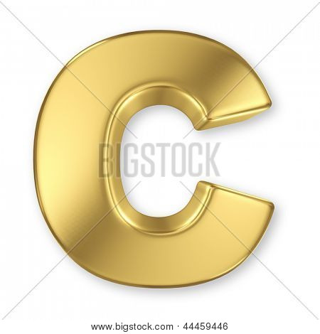 Letter C from gold solid alphabet