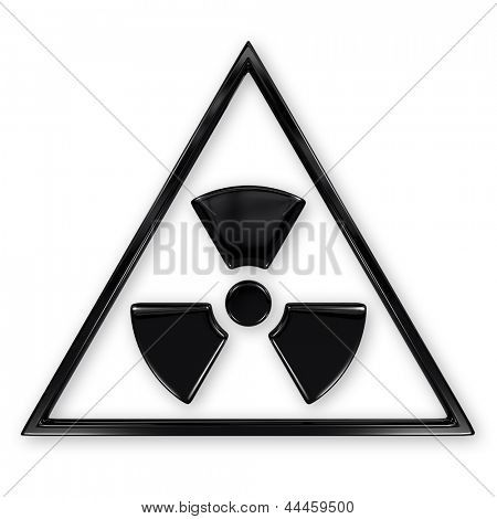 Radiation symbol in triangle isolated on white