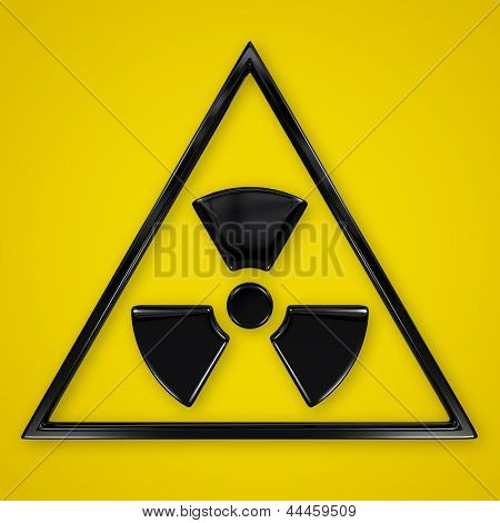 Radiation symbol in triangle on yellow