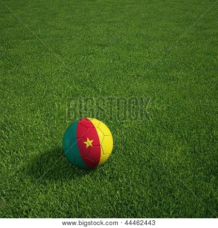 3D-Rendering ein kamerunischer Soccerball lying on grass