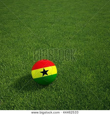 3D-Rendering ein ghanaischer Soccerball lying on grass