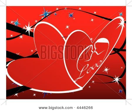 Background With Couple In Heart