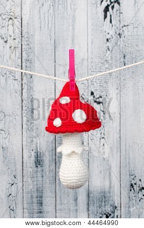 Children's Toy Hanging On The Clothesline.