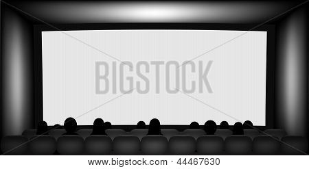 Blank Cinema Screen And People Silhouettes On Seats