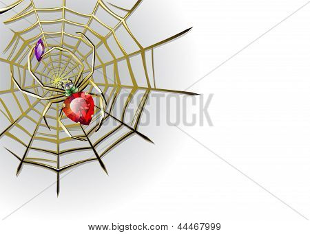 Vector White Background With Jewelry Spider On The Gold Web