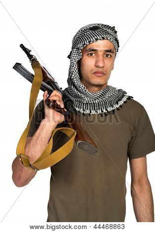 Terrorist With Automatic Gun And  On White Background